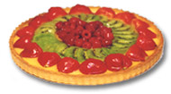 Fresh fruit tart flan glazed fresh raspberries kiwi and